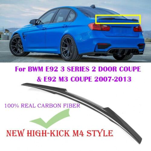 FOR 07-13 BMW E92 M3 2DR COUPE HIGHKICK CARBON FIBER TRUNK SPOILER WING M4 STYLE