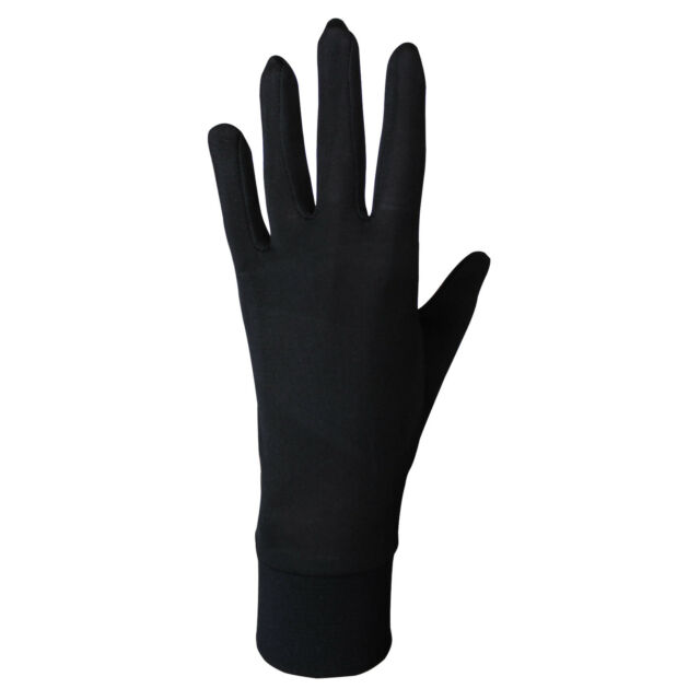 EDZ Pure Silk Thermal Liner Inner Seamless Gloves Black