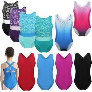 Girl-Gymnastics-Leotard-Ballet-Dance-Dress-Uniform-Lace-Top-Dancewear-Shiny-Tank