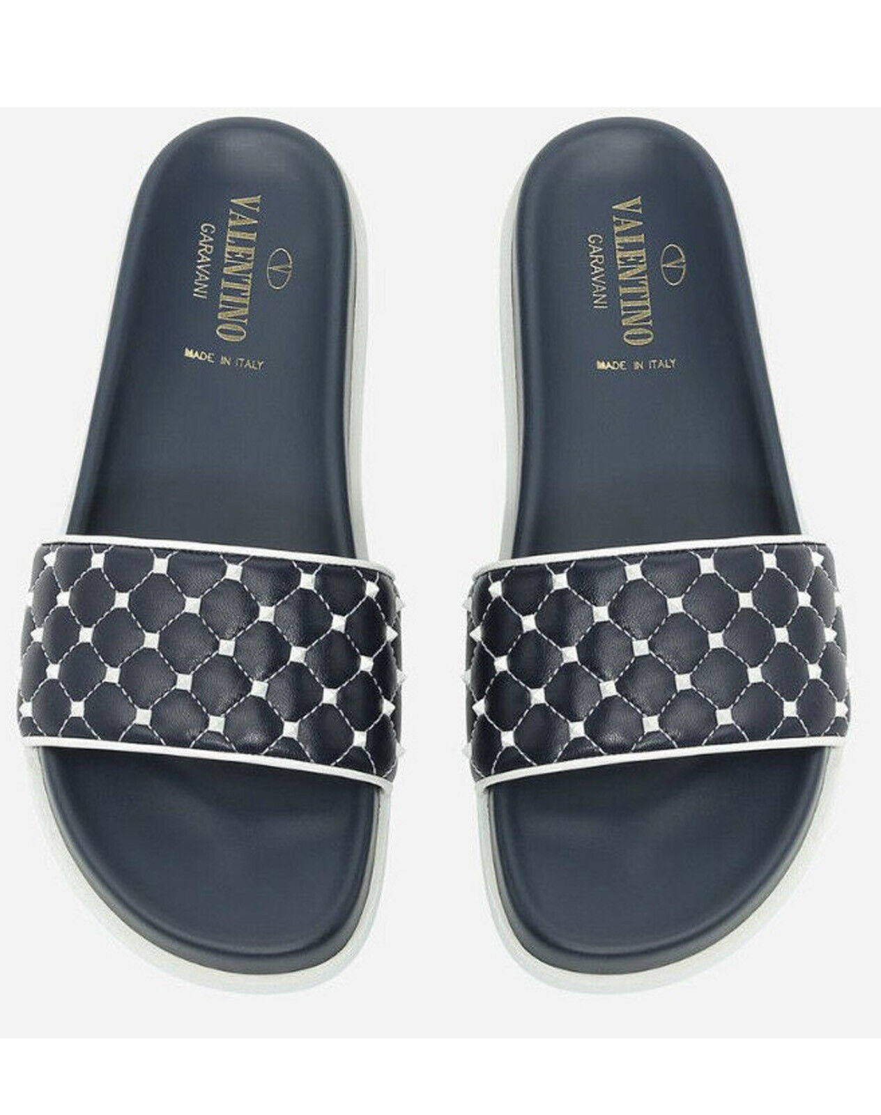 VALENTINO Garavani Free Rockstud Spike Slide Slipper Marine White bluee Size 35