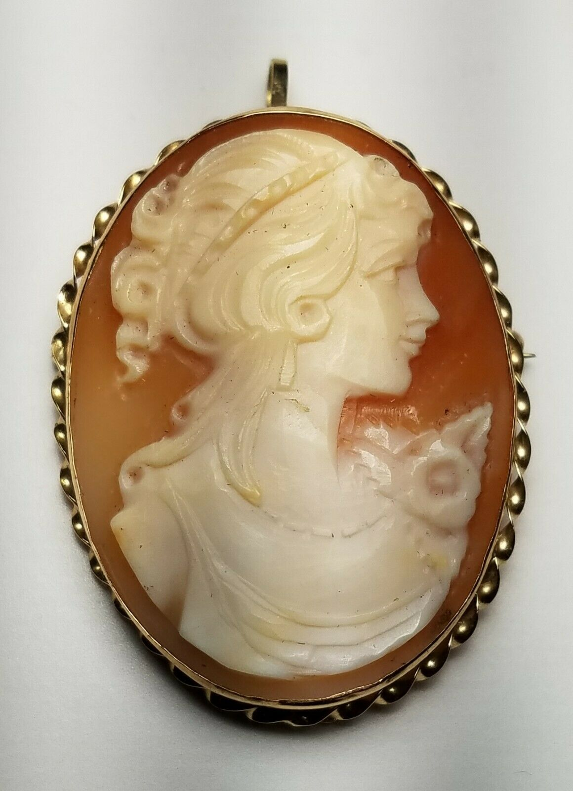 ESTATE 14K YELLOW gold PORTRAIT CAMEO BROOCH PIN or PENDANT-585 APA FREE US SHIP
