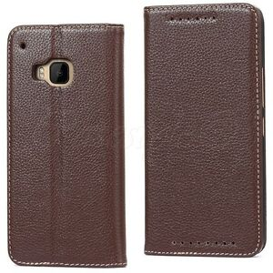 HTC-One-M9-Phone-Genuine-Real-Leather-Premium-Wallet-Flip-Stand-Case-Card-Cover