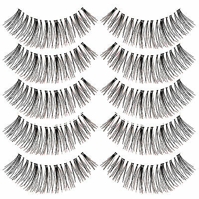 5 Pairs Natural Long False Eyelashes Clear Invisible Band Fake Eye Lashes