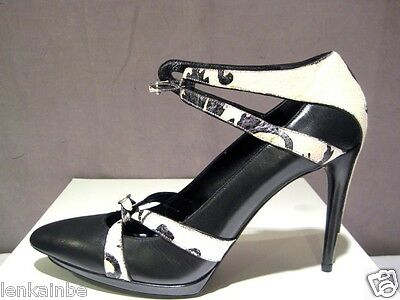 Balenciaga Pointy Black Leather Pumps Ankle Strap Painted Shoes 40 10 $1665
