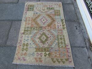 Kilim-Old-Traditional-Hand-Made-Afghan-Oriental-Blue-Green-Wool-Kilim-156x96cm