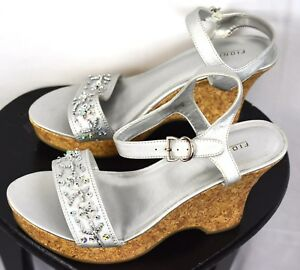 Fioni-Silver-Beaded-Sandals-Size-8-5