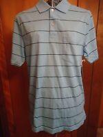 Mens Small St. John Bay Blue With Small Black Stripe Ss Golf Polo Shirt