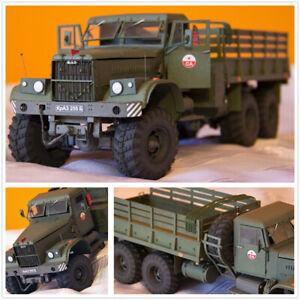 1-25-USSR-Soviet-Union-Kraz-255B-Military-Truck-DIY-Handmake-Paper-Model-Kit-Toy