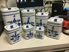 VIANA DO CASTELO HAND PAINTED IN PORTUGAL BLUE AND WHITE CANISTER SET OF 7