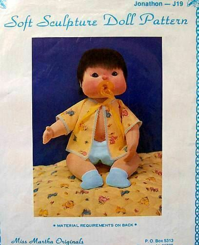 "Miss Martha Soft Sculpture Doll Pattern  Jonathon  19/""  Vintage  NIP"