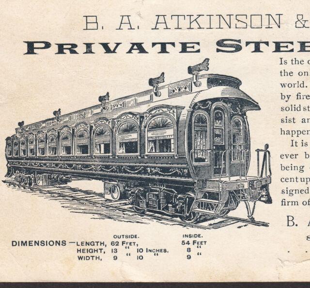 Robbins Cylindrical Steel Passenger Car Co Atkinson Railroad Train Card Boston