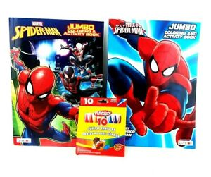 Spider-Man-amp-Ultimate-Spider-Man-Jumbo-Coloring-Activity-Book-Crayons-Lot-of-2