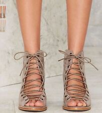 JEFFREY CAMPBELL CORS TAUPE SUEDE LACE UP CHUNKY HEEL SANDALS BOOTIE 8 NUDE
