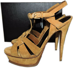 4bcf5764f7 Ysl Yves Saint Laurent Suede Leather Tribute T-Strap Sandals Pumps ...