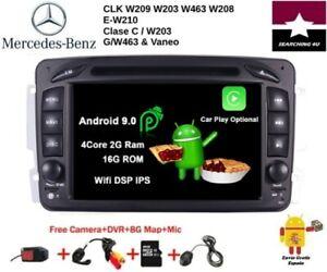 """DVD GPS 7"""" MERCEDES BENZ CLK SLK CLASE C G VANEO ANDROID 9 2GB RAM RDS DE ESPAÑA"""