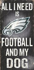 """Philadelphia Eagles Football & My Dog Wood Sign and Rope 12"""" X 6"""" NFL Man Cave"""