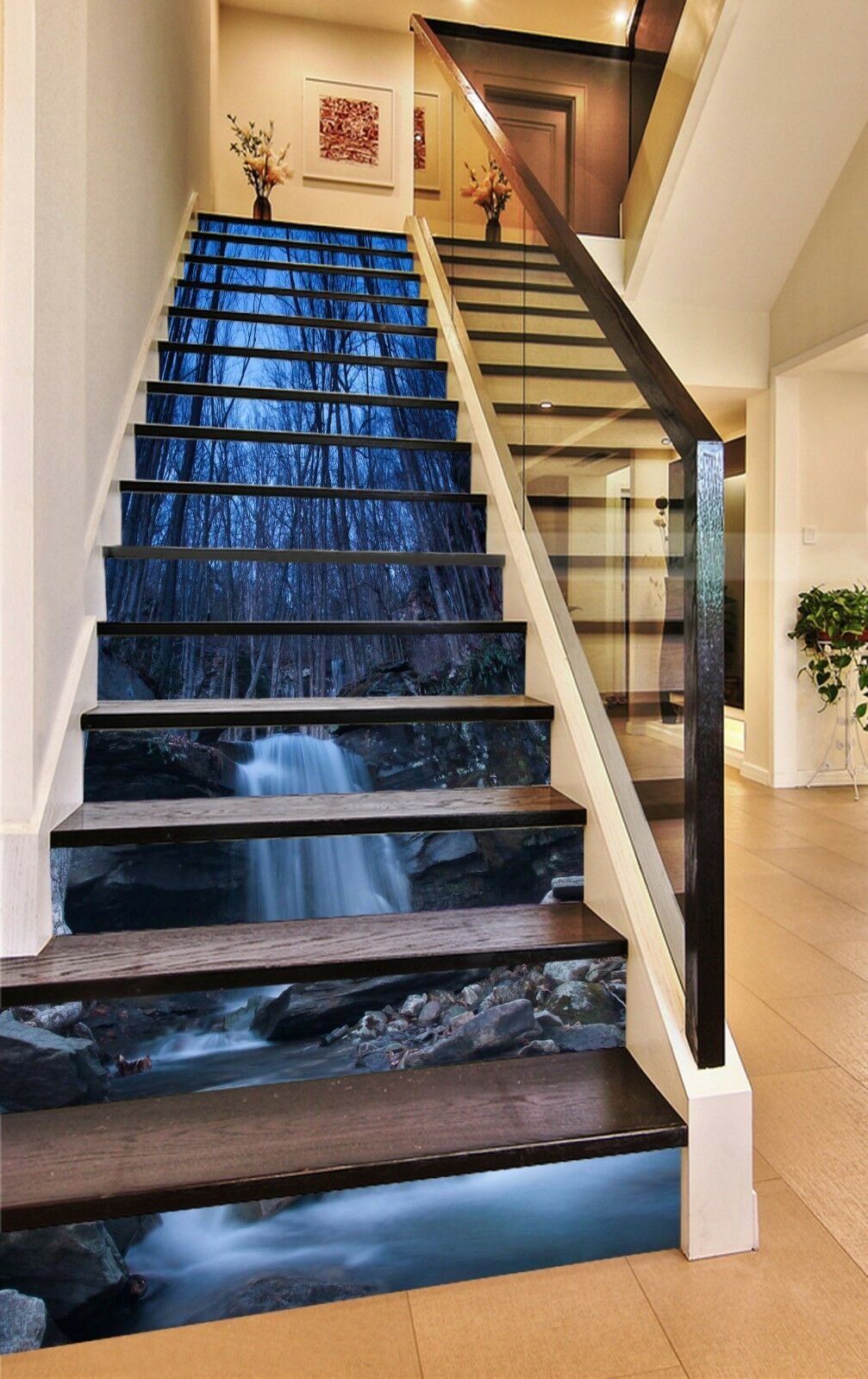 3D Forest lake 5 Stair Risers Decoration Photo Mural Vinyl Decal Wallpaper UK