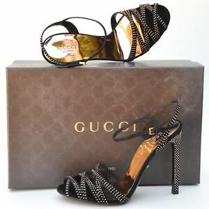 GUCCI-New-sz-38-8-Designer-Gold-Studded-Black-Womens-Sandals-Heels-Shoes