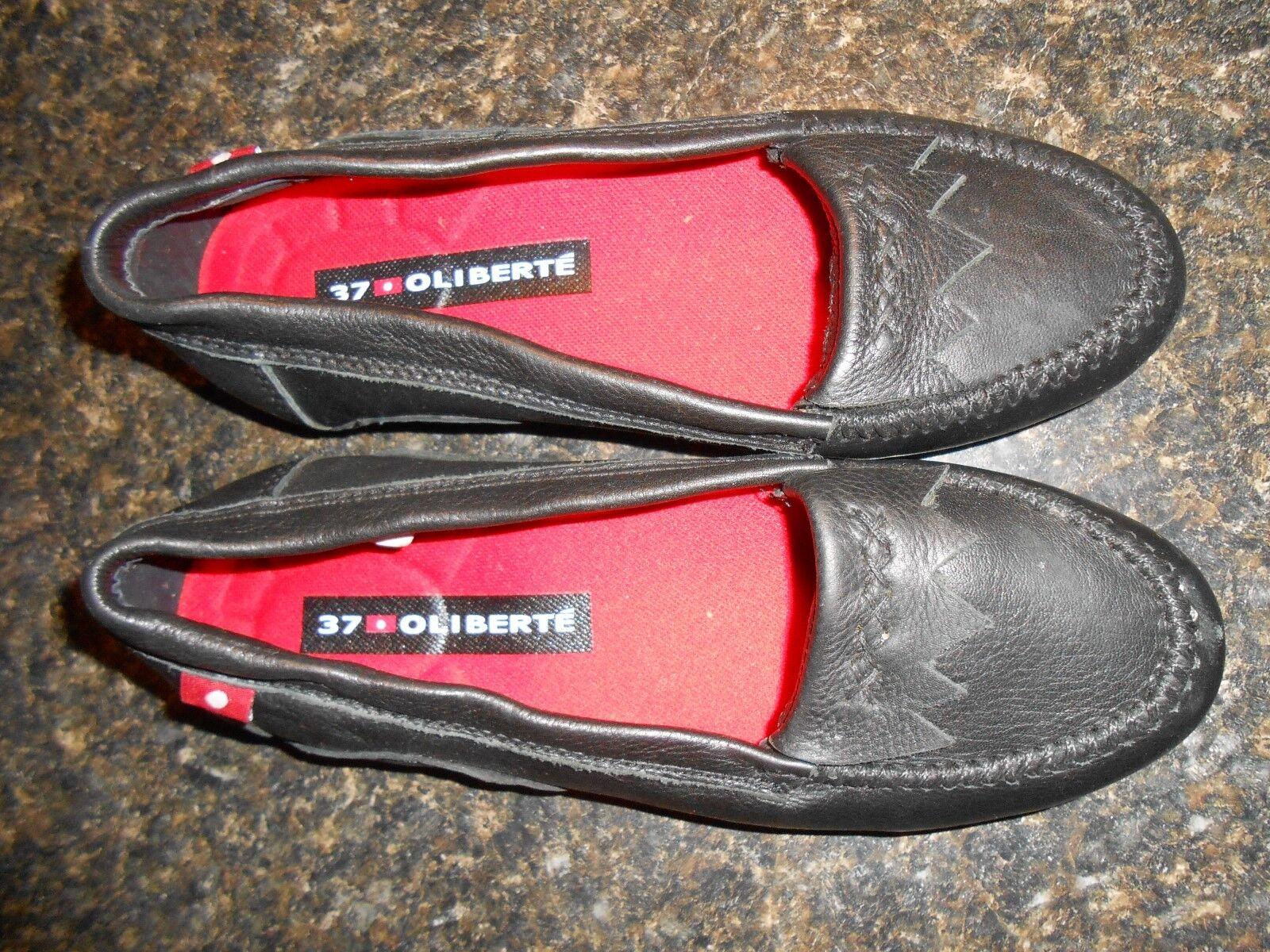 fantastica qualità Oliberte nero nero nero leather Ralini flats moccasin scarpe display 7M New no box save   sport dello shopping online