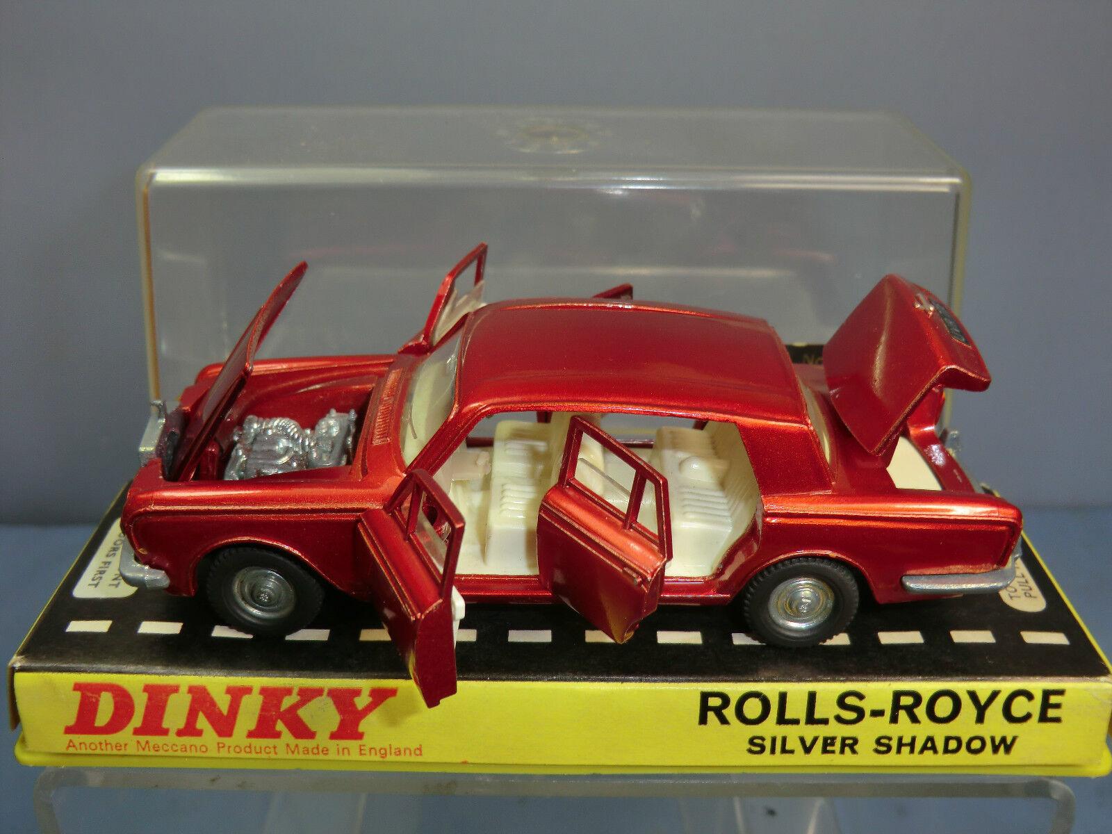 DINKY TOYS MODEL No.158 Rolls Royce Silver Shadow LIMOUSINE LIMOUSINE LIMOUSINE (Red Version) En parfait état, dans sa boîte | Brillance De Couleur  5f7fec