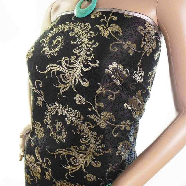 cbs-606-Chinese brocade fabric black basic w dull gold phoenix tail