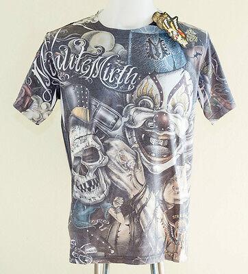 Minute Mirth Joker Size L Tattoo T-shirt Skull Street Gang Full Graffiti w/Stud