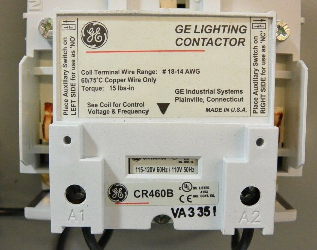 12 Pole GE Lighting Contactor CR460B 30 Day Guarantee Ge Lighting Contactor Wiring Diagrams on