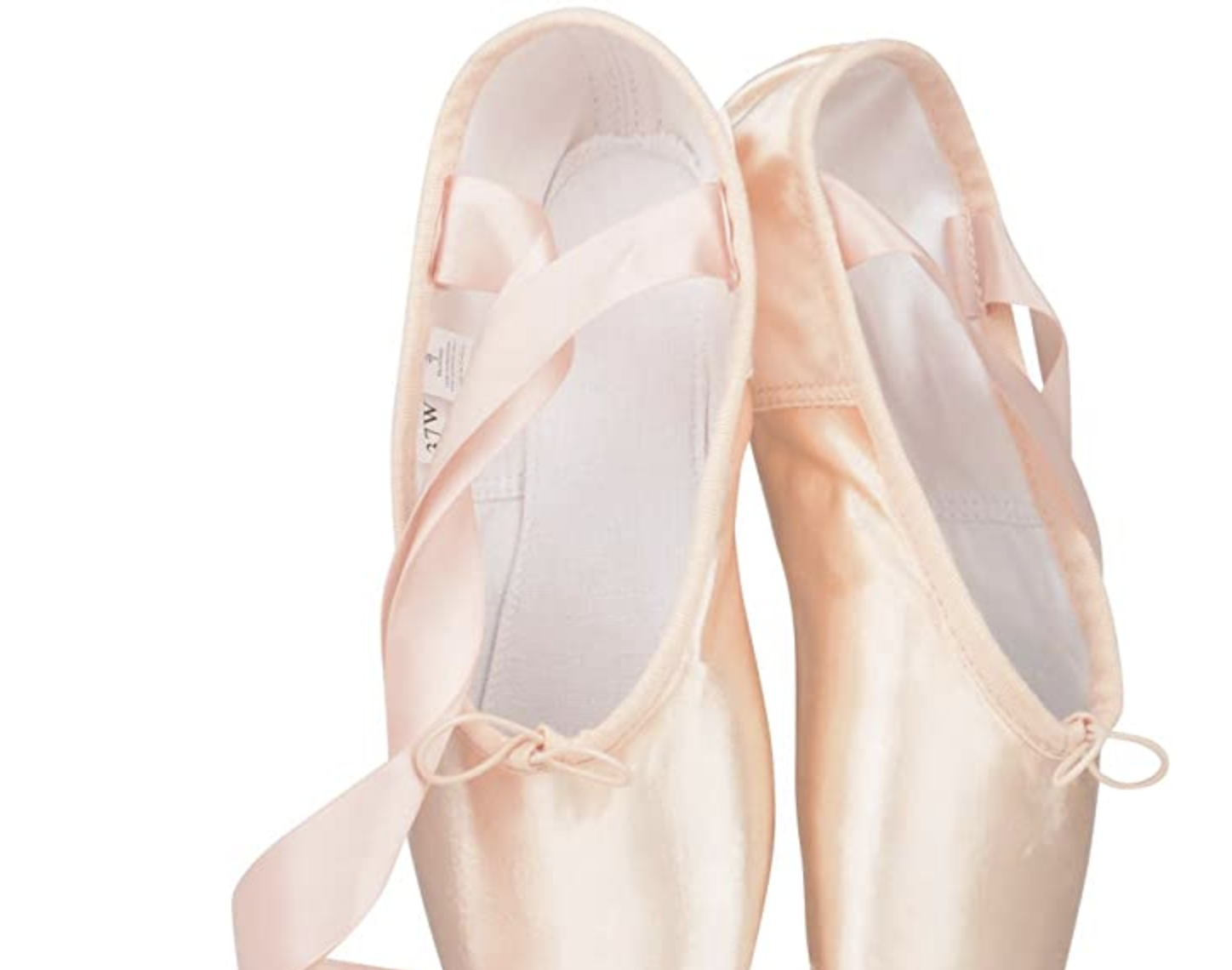 Bezioner Ballet Pointe Shoes Pink Satin Dance Shoes Ribbon Silicone Toe Pads US5