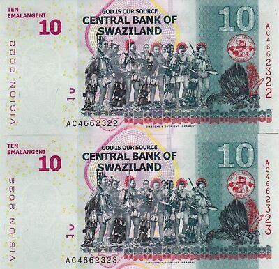 2 Billets De Banque Suite Banknotes Swaziland 10 Emalangeni 2015 New Neuf Unc Ziekten Voorkomen En Genezen