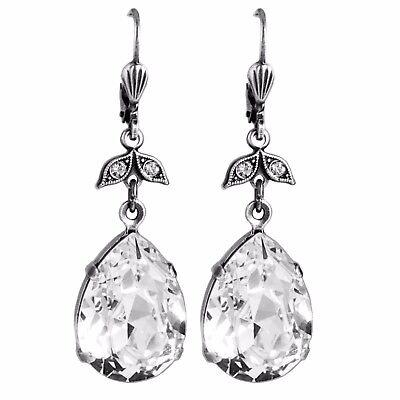 Grevenkämper Ohrringe Swarovski Kristall Silber Tropfen groß weiß klar Crystal