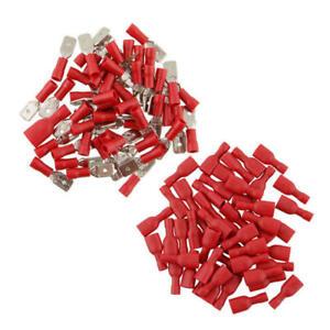 100-Flachstecker-Flachsteckhuelsen-Rot-Quetschverbinder-Isoliert-Kabelschuhe