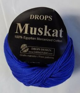 EGYPTIAN MERCERIZED COTTON GARN (DROPS) MUSKAT YARN 1 BALL ROYAL BLUE (8E) | eBay