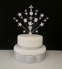 Comunione o Battesimo, Bibbia, calice e croce Cake Topper Personalizzato