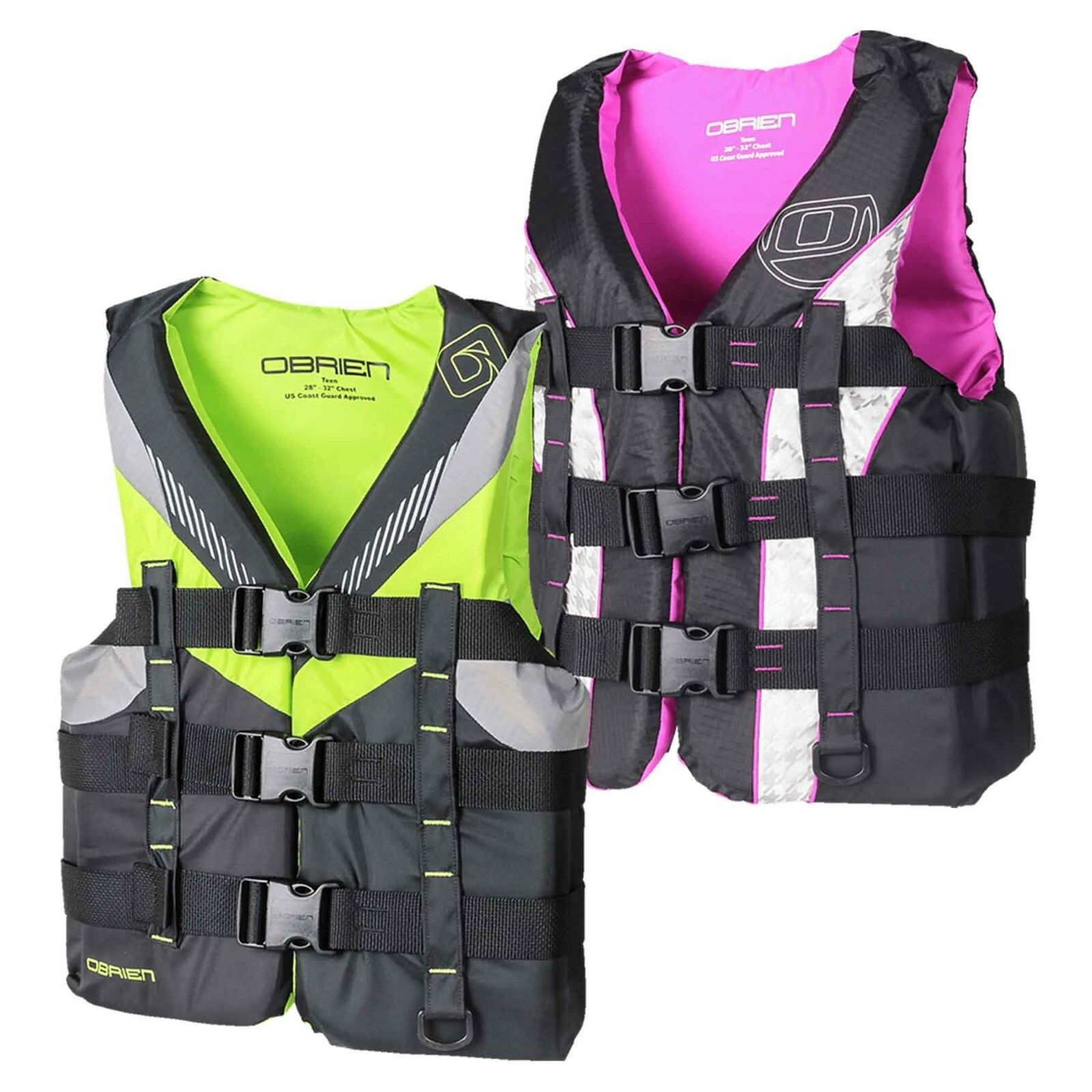 O'Brien Teen Nylon Watersports Buoyancy Vest Purple  lime, wake ski surf