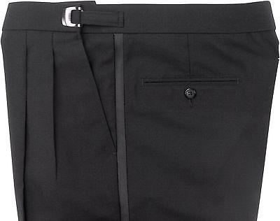 NEW Men's Black Polyester Tuxedo Trousers Adjustable Waiter Tux Pants ALL SIZES