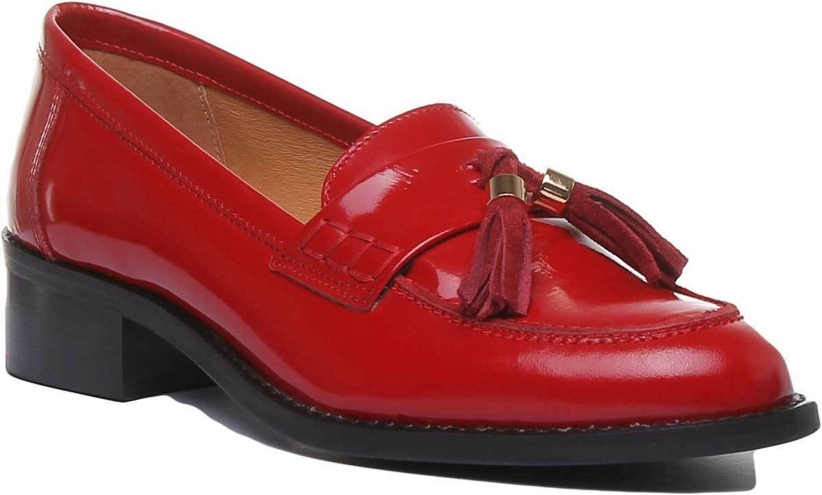 Justin Reece England Felicity Slip On Heeled Loafer In rot Größe UK 3 - 8