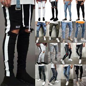 Men-039-s-Denim-Ripped-Distressed-Jeans-Skinny-Pants-Frayed-Biker-Slim-Fit-Trousers