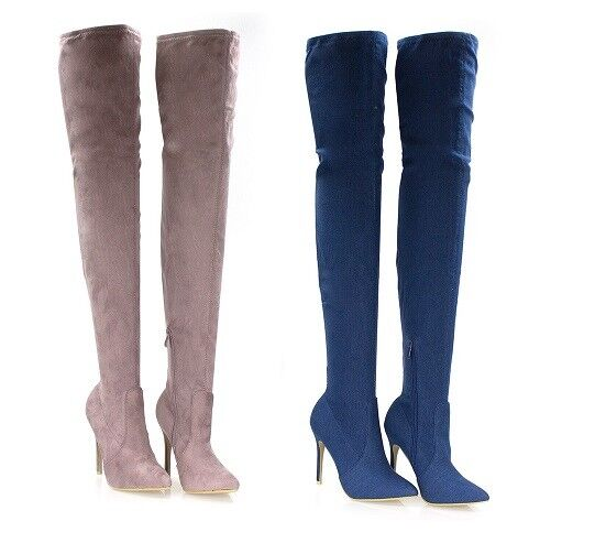 WOMENS LADIES  OVER THE KNEE THIGH HIGH LONG BOOTS STILETTO POINT POINTED