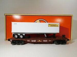 Lionel-O-Gauge-Flatcar-With-JB-Hunt-Trailer-6-26955-C-129