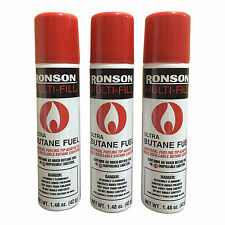 Ronson Multi-Fill Ultra Lighter Butane Fuel 1.48 FL OZ 42g Universal Tip- 3 Pack