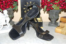 VINTAGE ESCADA ITALY BLACK PATENT LEATHER WOMEN'S ANKLE STRAP SANDALS SIZE 39.5