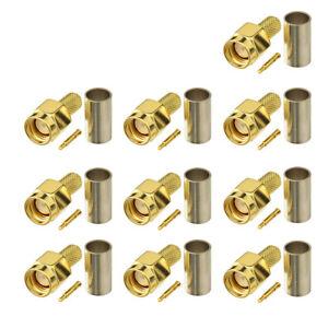 SMA-Stecker-HF-Steckverbinder-RG58-Kabel-fuer-Walkie-Talkie-Funkantenne-10-Stuecke