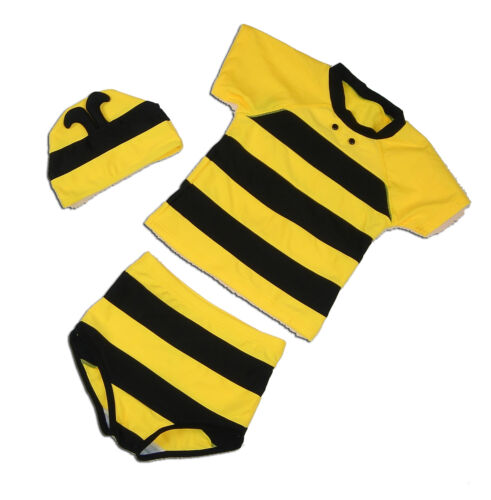 New Boys Yellow Bee Swimming Costume Suit+Hat from 12 M to 5 Years