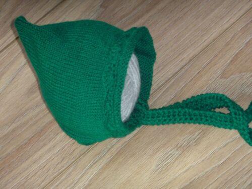 NEW LOVELY Baby Infant Green Knitted Crochet Bonnet Pixie Beanie Hat 0-3 Mths