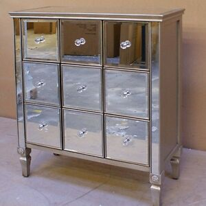 Image Is Loading Vintage Mirrored Chest Drawer Cabinet Hall Furniture  Venetian