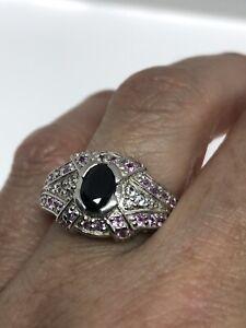 Vintage-saphir-bleu-Ring-925-Sterling-Silver-Rose-Saphir-Taille-8