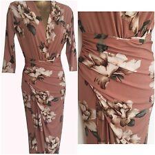 pink floral  dress midi-maxi evening-party wrap front  size  uk 12  eu 40