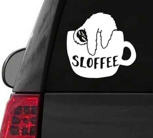 S108 SLOTH SLOFFEE COFFEE CUP GIFT VINYL DECAL CAR TRUCK SUV LAPTOP