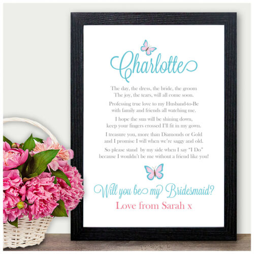 Personalised Gifts Presents Flower Girl Maid Honour Will You Be My Bridesmaid