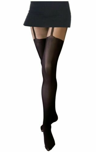 MOCK SUSPENDER STOCKINGS TIGHTS size S XL 40 20 DENIER NEW SIZE